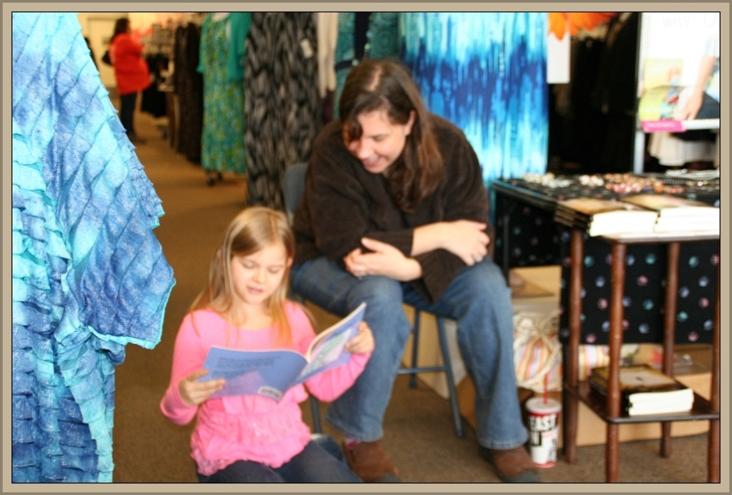 Lily Reads to Mishael at Catherines 03-23-13