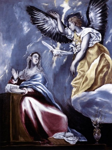 The angel's announcement to Mary about her most blessed unplanned pregnancy.