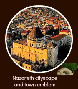 Nazareth cityscape and city emblem